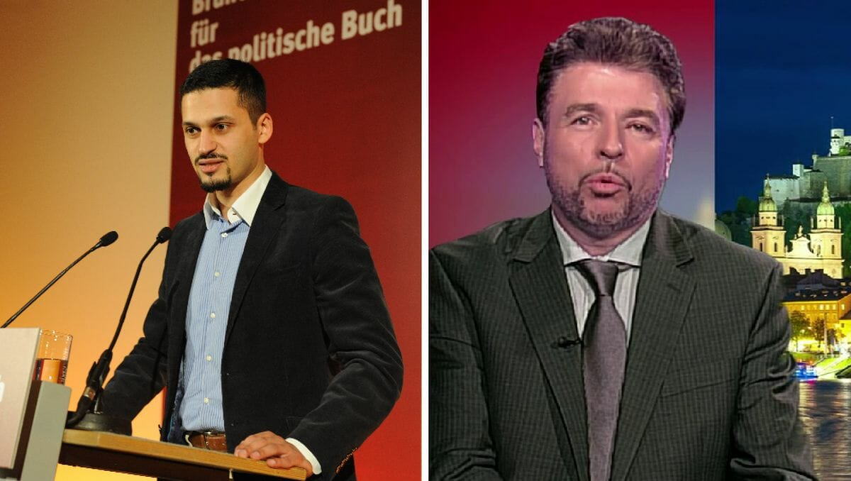 Farid Hafez und der Leiter des Fachbereichs Politikwissenschaft und Soziologie der Uni Salzburg, Reinhard Heinisch