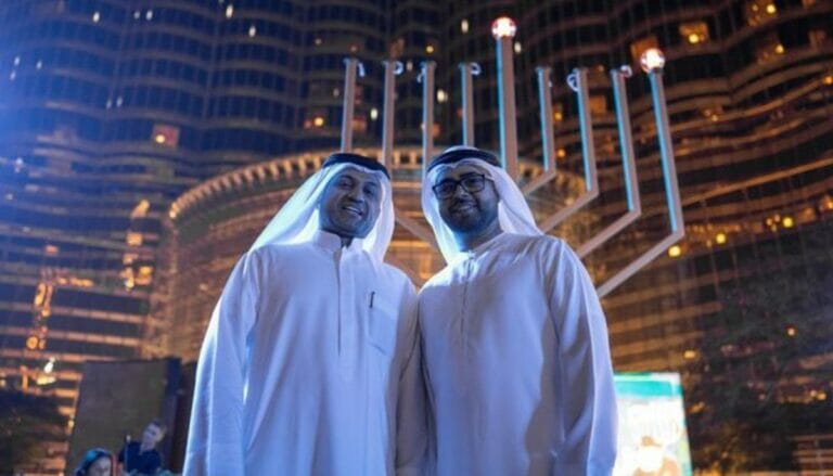 Eine Hanukkah-Menorah in Dubai in den Vereinigten Arabischen Emiraten