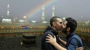 Das Bild der beiden Menschenrechtsaktivisten zog wütende Proteste islamischer Extremisten nach sich