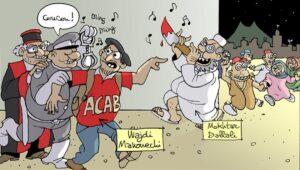 Cartoon, der zur Solidarität mit dem tunesischen Blogger Wajdi Mahouechi aufruft