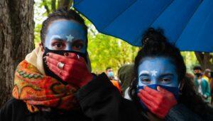 Demonstration in Brüssel gegen die Verfolgung der Uiguren
