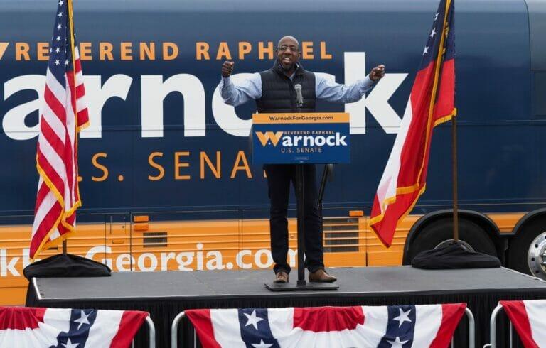Der demokratische Kandiat für Senatswahlen in Georgia Raphael Warnock