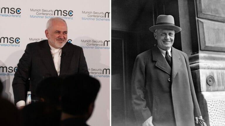 Irans Außenminister Zarif und sein NS-Amtskollege Ribbentrop