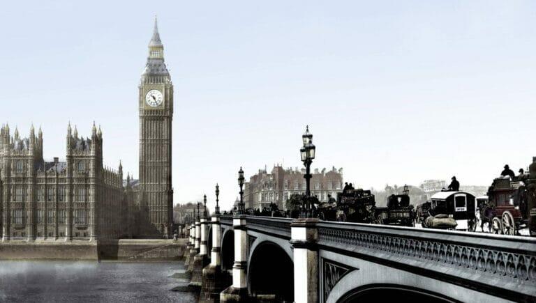 """Der Uhrturm mit der als """"Big Ben"""" bekannten Glocke in London um das Jahr 1900"""