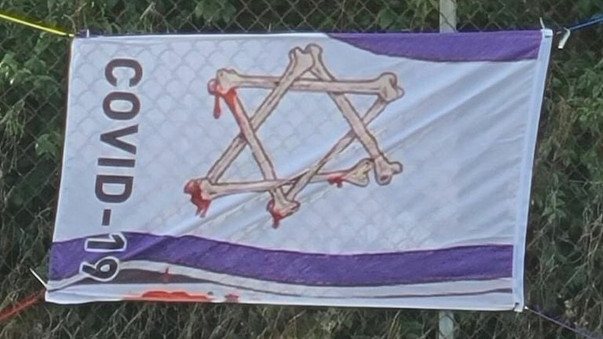 Antisemitisches Corona-Transparent in Los Angeles
