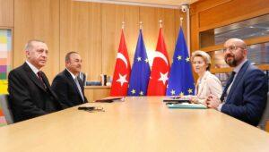Treffen von Erdogan und Cavusoglu mit von der Leyen und Michel im März 2020