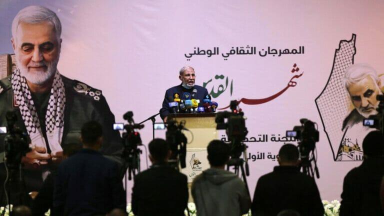 Hamas Funktionär Mahmoud al-Zahar hält Rede auf Gedenkveranstaltung für Revolutionsgarden-Kommandeur Qassem Soleimani