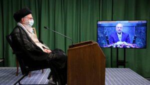 Irans Führer Ali Khamenei und Parlamentssprecher Mohammed Bagher Qalibaf