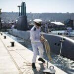 Ein israelisches U-Boot im Hafen von Haifa
