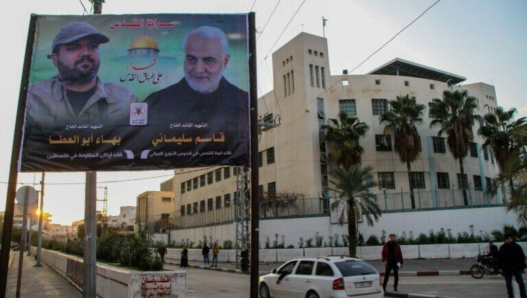 Gedenkplakat für den iranischen Revolutionsgardenführer Soleimani im Gazastreifen