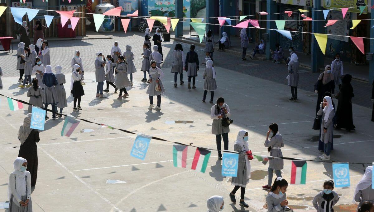 Schulhof einer von der UNRWA betriebenen Schule in Khan Younis im Gazastreifen