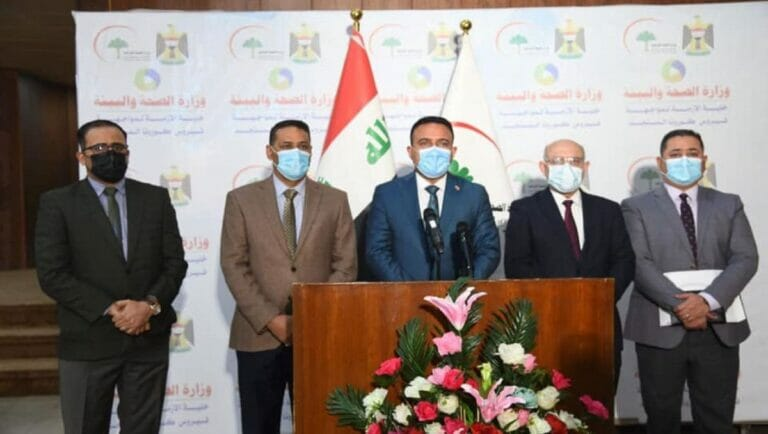 Presseokonferenz des irakischen Gesundheitsministeriums