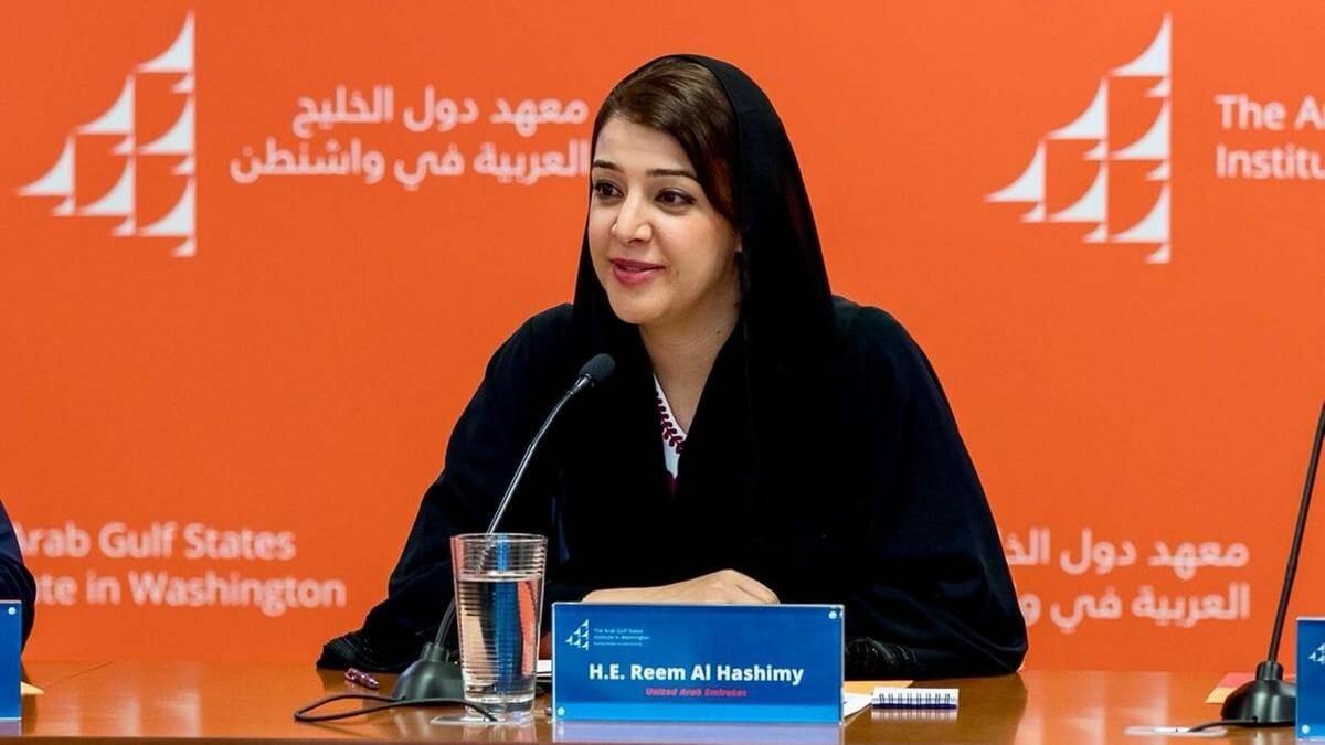 Die Staatsministerin der VAE für internationale Zusammenarbeit Reem al-Hashimy