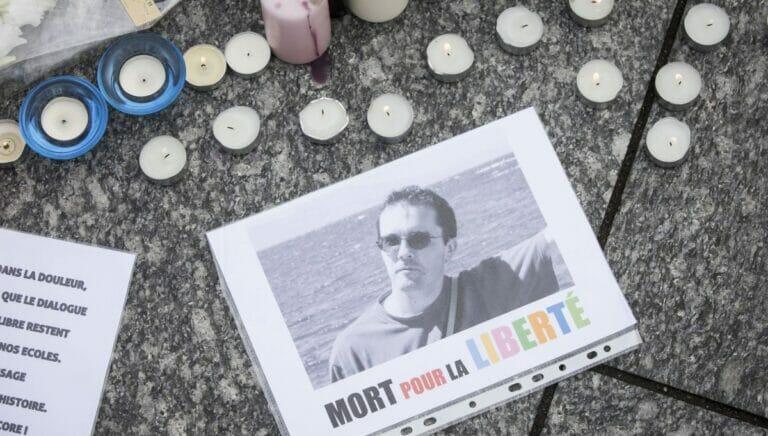 Gedenken an den im Oktober ermordeten französischen Lehrer Samuel Paty