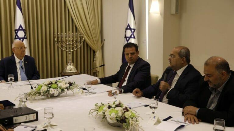 Mansour Abbas (ganz rechts) bei Staatspräsident Reuven Rivlin