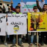 Anti-Assad-Demonstration in Syrien im Februar 2021