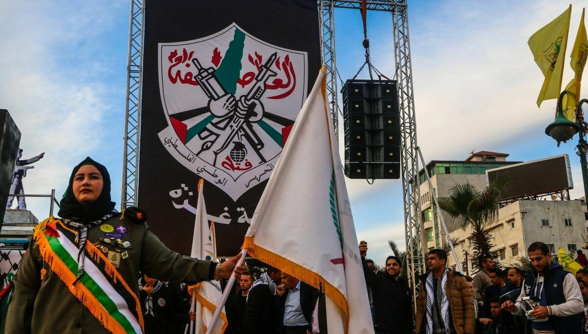 Zwei gekreuzte Kalaschnikows und eine Handgranate: das Emblem von Abbas' Fatah-Partei