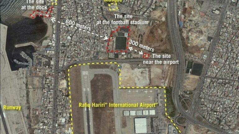 Satellitenaufnahme von Raketenproduktionsstätten der Hisbollah in Beirut
