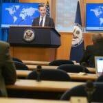 Der Sprecher des US-Außenministeriums Ned Price bei der täglichen Pressekonferenz
