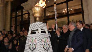Kein Israel im Logo: Abbas bei der Feier zum Jahrestag der Fatah-Gründung