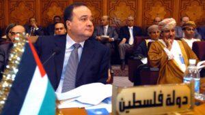 Der palästinensische Politiker Nasser Al-Qidwa bei einer Sitzung der Arabischen Liga