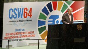 UN-Generalsekretär Guerres sprich 2020 vor der UN-Frauenrechtskommission