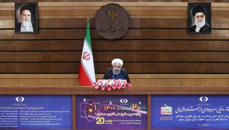 """Irans Präsident Rohani bei den Feierlichkeiten zum """"Nationalen Tag der Nukleartechnologie"""" am 10. April"""
