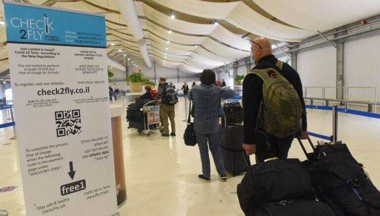 Info zu Corona-Bestimmung am Flughafen in Tel Aviv