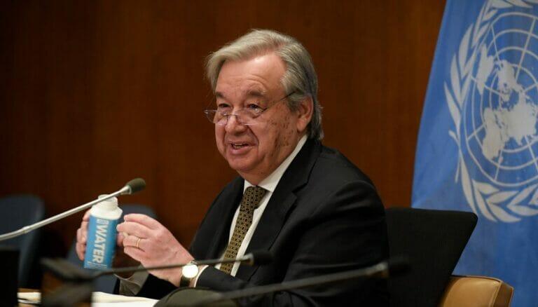 UNO-Generalsekretär Antonio Guterres auf der Jemen-Geberkonferemnz im März 2021