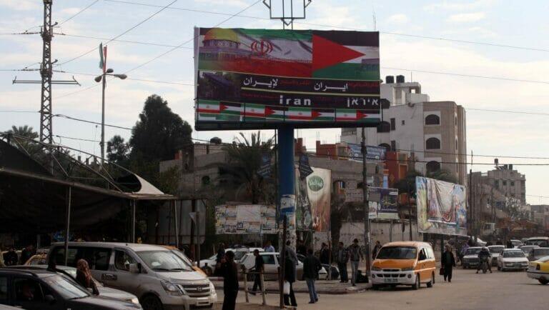 Werbeplakat für das Teheraner Regime im Gazastreifen