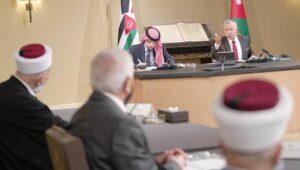 Jordaniens König Abdullah mit der Abordnung des Jerusalemer Waqf