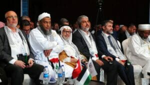 Hamas-Führer Khaled Mashal auf einer Konferenz in Istanbul
