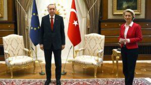 Der türkische Präsident Erdogan und EU-Kommissionspräsidentin Ursula von der Leyen