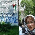 """Ewa Jasiewicz sprühte 2010 """"Free Gaza + Palästina"""" an eine Wand des Warschauer Ghettos"""