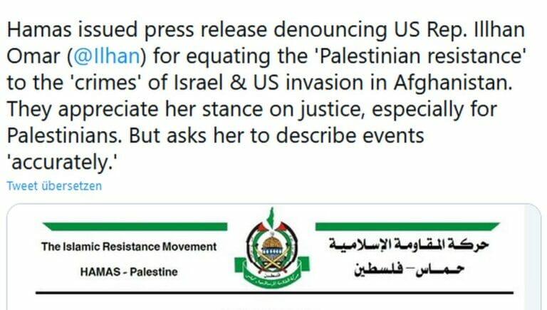 Die Hamas ist nicht erfruet, von Ilhan Omar mit Israel und den USA verglichen zu werden