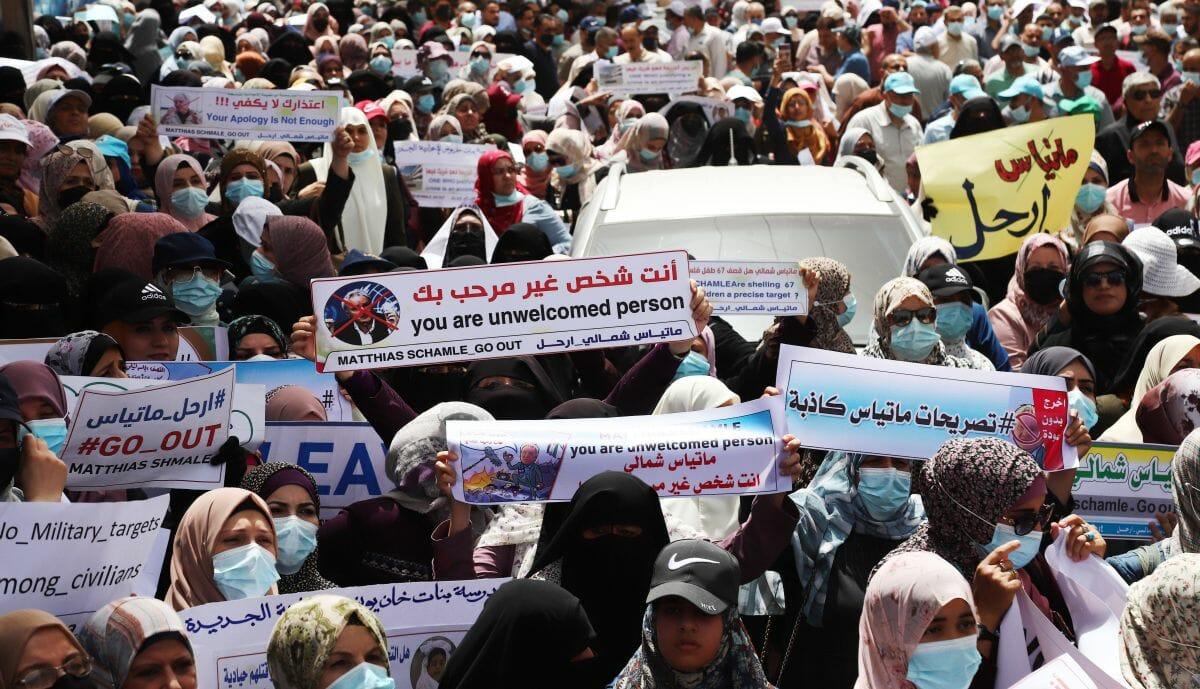 Demonstration gegen den UNRWA-Direktor Matthias Schmale in Gaza