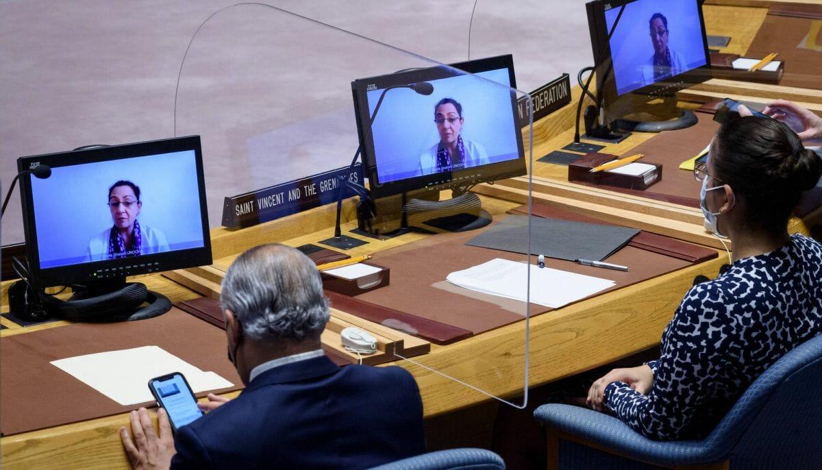 Rheena Ghelani vom Amt der Vereinten Nationen für die Koordinierung humanitärer Angelegenheiten informiert den Sicherheitsrat über Lage in Jemen