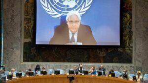 Der scheidende Gesandte für den Jemen Martin Griffiths spricht vor dem UNO-Sicherheitsrat