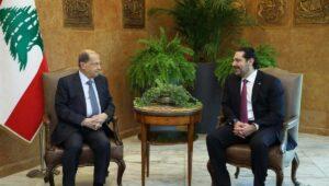 Libanons Präsident und der zurückgetretene desginierte Premierminister Hariri