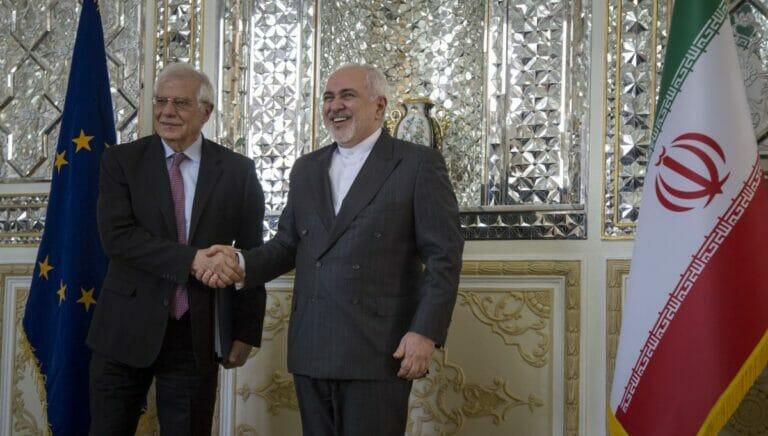 EU-außenpolitikchef Borrell mit seinem iranischen Amtskollegen Zarif