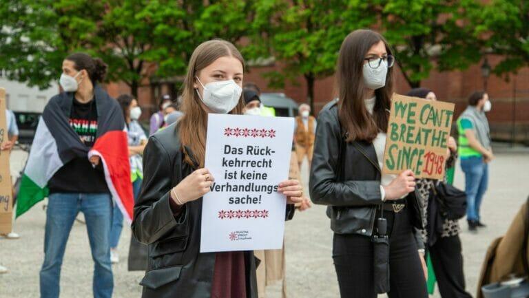 München: Demonstration während der Auseiandersetzungen zwischen Israel und Gaza im Juni 2021