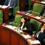 Die Vorsitzende der Freien Destur-Partei, Abeer Moussi, im tunesischen Parlament