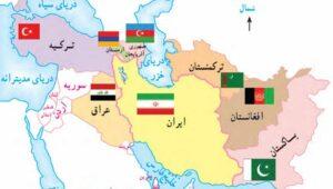 """Landkarte vom Nahen Osten aus einem aktuellen, iranischen Schulbuch. Dort, wo seit 1948 der Staat Israel existiert, steht auf der Landkarte in Farsi """"Besetztes Palästina"""""""