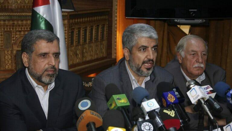 Ahmad Jibril (re.) mit Vertretern der Hamas und des Islamischen Jihad bei einem Treffen in Damaskus