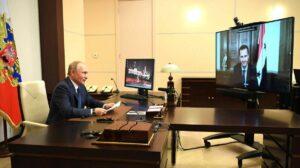 Putin und Assad bei einer Videokonferenz