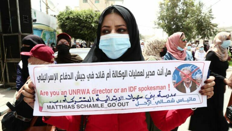 Demonstration gegen den ehemligen UNRWA-Chef in Gaza Matthias Schmale