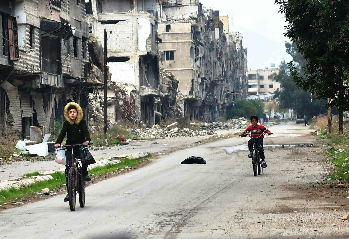 Das palästinensische Flüchtlingslager Jarmuk im Süden von Damaskus. (© imago images/Xinhua)
