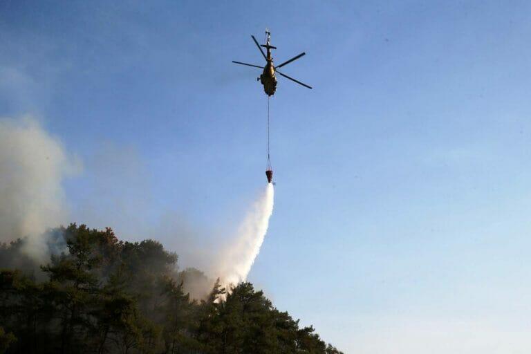 """Die Türkei ist in der Bekämpfung der Waldbrände völlig überfordert. Rufe nach internationaler Hilfe sollen einem Staatsanwalt zufolge eine """"Beleidigung"""" der Regierung darstellen. (© imago images/Depo Photos)"""