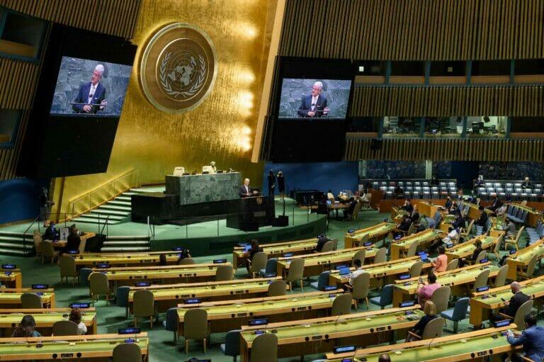 """Das antisemitische Spektakel """"Durban IV"""" in der Zentrale der Vereinten Nationen in New York wird ohne die Beteiligung Frankreichs über die Bühne gehen. (© imago images/Xinhua)"""