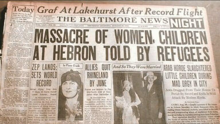 """Die """"Baltimore News"""" beirchtet über den Pogrom von Hebron im Jahr 1929"""